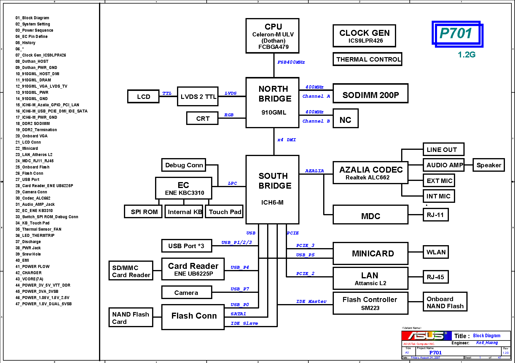 Asus P701 Block Diagram Free Schematic Bridge Project Circuit Diag The Motherboard For Netbook Cpu Celeron M Ulv Dothan North 910gml South Ich6 Name